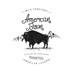 Old label with bison