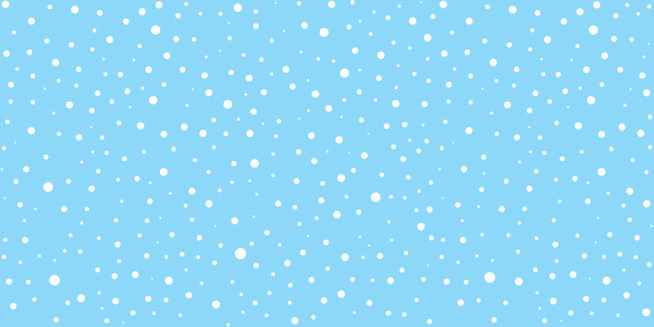 White snow falling on sky blue background seamless pattern. Flat style snowfall repeating texture for christmas greeting card or banner. Vector eps8 illustration.