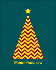 Christmas background. Flat Christmas tree and star for card design. Vector illustration.