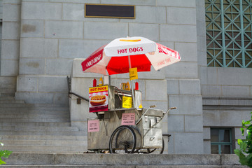hot dogs cart in downtown Los Angeles