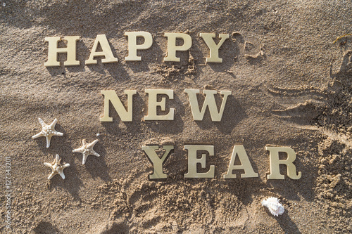 happy new yearhappy new year wood sign starfish and shellfish on the sandy