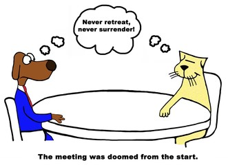 Color business cartoon about a doomed meeting.