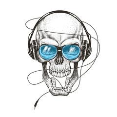 smiling skull listening a music in headphones