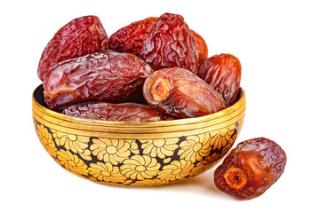 sweet dried dates in oriental cup isolated on white
