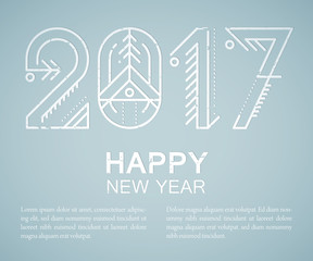 New Year greeting card template with decorated 2017 sign.