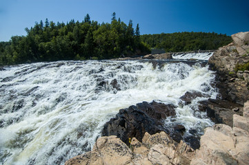 wide angle shot of powerful waterfall