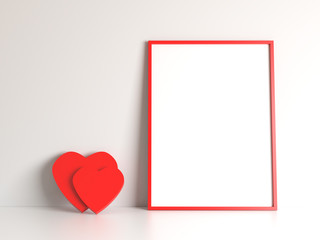 White blank with free copy space mock up poster with red frame and red two heart on white background. Picture template Valentine's Day. Dating, meeting, family, couple in love theme. 3d illustration