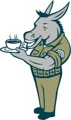 Donkey Sergeant Army Standing Drinking Coffee Cartoon