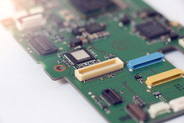 Selective focus,Connector on motherboard close-up shot,Electronic circuits board for background.