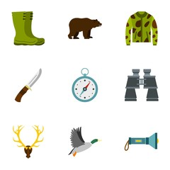 Hunting in forest icons set. Flat illustration of 9 hunting in forest vector icons for web