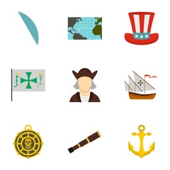 Columbus Day icons set. Flat illustration of 9 Columbus Day vector icons for web