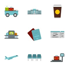 Check at airport icons set. Flat illustration of 9 check at airport vector icons for web