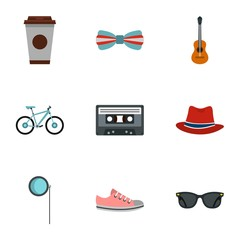 Hipsters icons set. Flat illustration of 9 hipsters vector icons for web