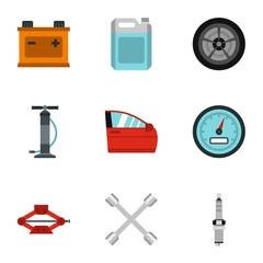 Maintenance car icons set. Flat illustration of 9 maintenance car vector icons for web