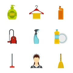 House cleaning icons set. Flat illustration of 9 house cleaning vector icons for web
