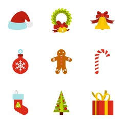 Christmas icons set. Flat illustration of 9 christmas vector icons for web