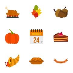 Public holiday of USA icons set. Flat illustration of 9 public holiday of USA vector icons for web