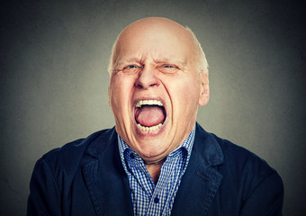 portrait of senior angry man