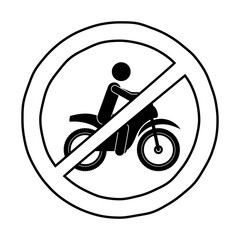 motorcycle road sign icon. Street information warning and guide theme. Isolated design. Vector illustration