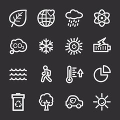 Ecology web icons.  Green technology, environment protection and