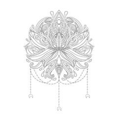 Lotus flower dream-catcher ornamental. Ethnic, bohemian art. Tattoo, astrology, alchemy, boho and magic symbol. Adult antistress. Hand drawn illustration.