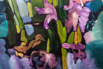 Oil painting still life with  irises