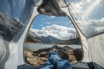 Wall Murals Camping Camping Next To Medicine Lake