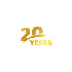 Isolated abstract golden 20th anniversary logo on white background. 20 number logotype. Twenty years jubilee celebration icon. Twentieth birthday emblem. Vector illustration.