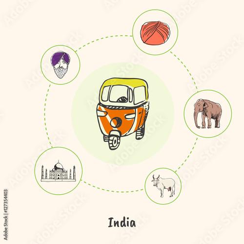 Attractive India Motorikshi Colorized Doodle Surrounded Elephant