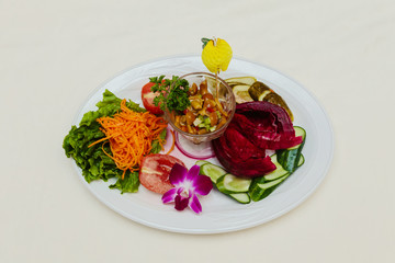 Food on a plate restaurant meat fish white background