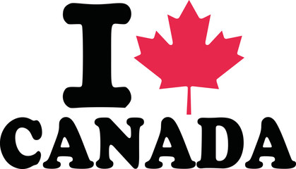 I love canada with maple leaf
