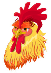 The emotional version of the character - angry cock. Vector illustration.