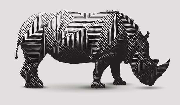 Vector rhinoceros illustration. Polygon shaped line- art.