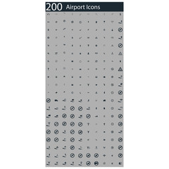 set of 200 airport icons
