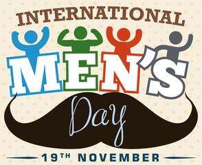 Festive Design with Boys and Mustache Celebrating International Men's Day, Vector Illustration