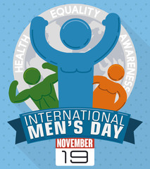 Different Men Shapes in Commemorative Design for International Men's Day, Vector Illustration