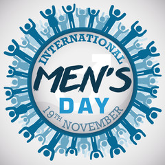 Button with a Masculine Multitude Commemorating International Men's Day, Vector Illustration