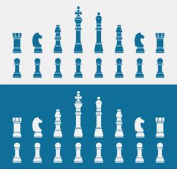 set of blue Chess icons