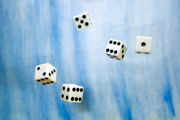 dice thrown into the air