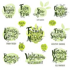 Set of stickers. Vegan cafe, farm fresh, fresh smoothies, vegetarian restaurant, organic market, natural product, raw food. Labels, Lettering design, calligraphy logo. Hand drawn vector illustration.