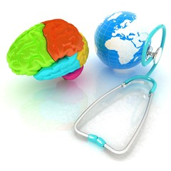 stethoscope, globe, brain - global medical concept. 3d illustrat