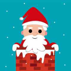 Christmas, Santa stuck in the chimney, vector.