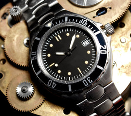 vintage black diver watch