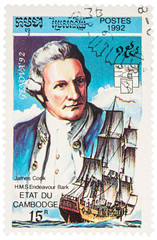 """Captain James Cook and H.M.S. """"Endeavour"""" on postage stamp"""