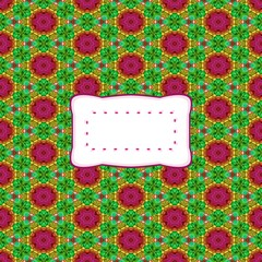 abstract kaleidoscopic decorative background with etiquette with copy space