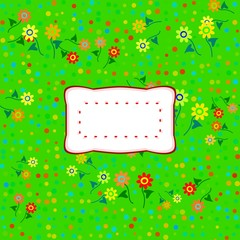 colorful floral decorative background with sticker with copy space