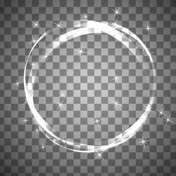 Shiny circle frame on transparent background.