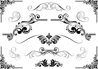 Abstract design set of floral ornaments