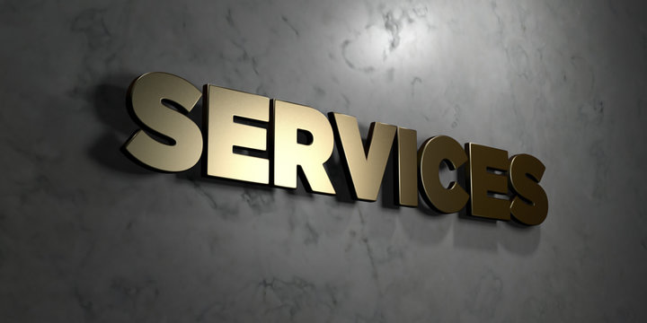 Services - Gold sign mounted on glossy marble wall  - 3D rendered royalty free stock illustration. This image can be used for an online website banner ad or a print postcard.