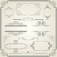 Set calligraphy element and frame design